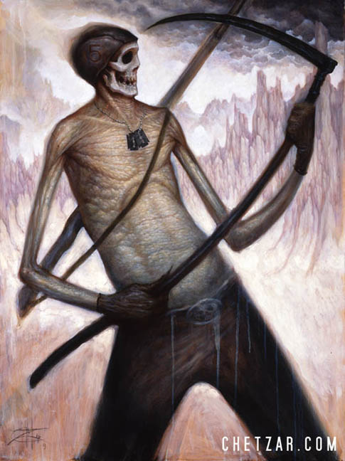 Death Playing Air Guitar on a Scythe
